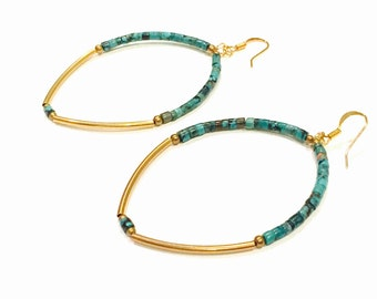Turquoise brass bar hoop earrings