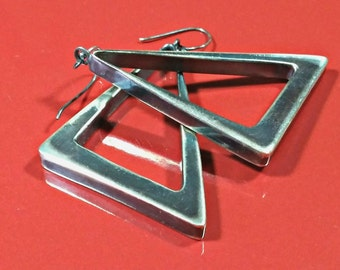 Vintage Oxidized Sterling Silver Modernist Geometric Right Triangle Earrings Drop Dangle Style Reversible Blackened Silver Heavy Patina