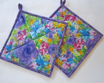 Pot Holders Set of 2 - Bright Flowers, Potholders, Hotpads, Hot Pads, Kitchen