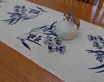 Linen Table Runner Hand Screen Printed Navy&Natural Australian Eucalypt Gum Tree