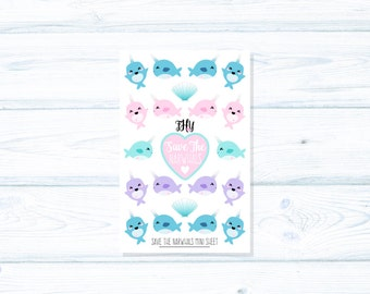 Kawaii Narwhal Planner Stickers - MINI SHEET