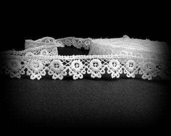 White Bridal Trim, White Narrow Trim, White Wedding Trim, White Lace Trim, 1 half inch Wide, Wedding Trim, Lace, Over 3 Yards, Edging