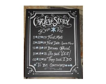 Wedding Gift: Our Love Story Board Chalkboard Art Sign 11 x 14 Unframed Small - custom wedding gift, chalk board signage, shower, engagement