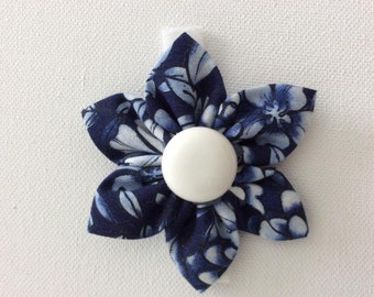 Navy Blue and White Dog Collar Flower- Ready to Ship