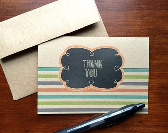 Thank You Cards - Striped Thank You Notes, Modern Kraft Thank You Card Set, Black Chalkboard Style Note Cards, Orange Teal Green Grey Stripe