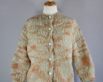 Vintage 60s 1960s Women's Mohair Sage Green Rust Autumn Fall Colors Watercolor Wear to Work Office Cardigan Sweater