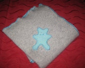 cashmere baby blanket grey turquoise bear
