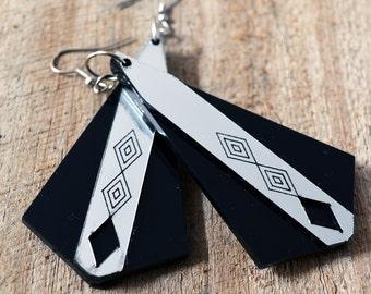 Aerial Silver grey & black acrylic laser cut earrings.