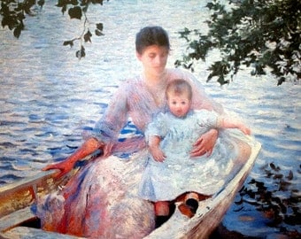 Mother and Child in a Boat Edmund Charles Tarbell 1892 Framed Print Impressionism Motherhood Childhood Nursery Decor Baby Shower Gift Mother