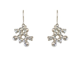 Chocolate (Theobromine) Molecule Earrings in Sterling Silver.