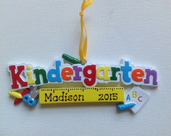 Personalized Kindergarten Christmas Ornament -First Day of School, Teacher Gift