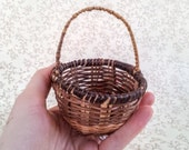 Vintage Miniature Woven Wicker Basket, Natural Round Basket with Handle, Small Scale Wicker Basket