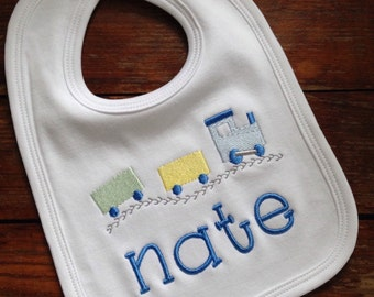 Embroidered / Monogrammed / Personalized / Baby bib with embroidered train and name