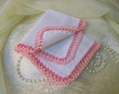 Ladies Lace Handkerchief, Hanky, Hankie, Hand Crochet, Pink, Peach, Pastel, Personalized, Monogrammed, Embroidered, Custom, Ships Quickly