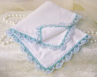 Blue Handkerchief, Hanky, Hankie,  Something Blue, Bridal, Lace, Hand Crochet, Lacy,  Aqua, Personalized, Monogrammed, Embroidered,Ladies