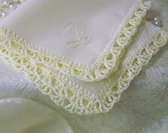 Custom Embroidered Handkerchief, Hanky, Hankie, Personalized, Hand Crochet, Cream, Lace, Lacy, Ships quickly, Bridesmaids Gift, Ladies