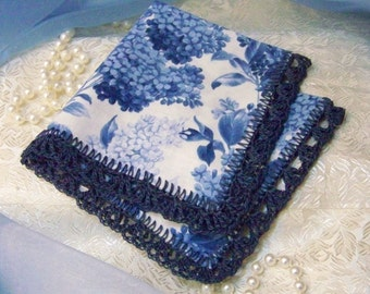Blue Lace Handkerchief, Hanky, Hankie, Hand Crochet, Lace, Lacy, French Print, Personalized, Monogrammed, Embroidered, Ready to ship