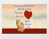 Cat Card for Men- Orange Cat- Cat Crazy Man- Fathers Day Card- Cat Dad