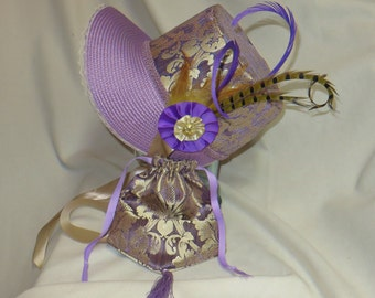 Lavender and Gold Stovepipe Bonnet and Reticule- Regency, Georgian, Jane Austen Era Bonnet and Purse