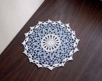 Blue and White Crochet Lace Doily, Table Accessory, Modern Home Decor, Handmade
