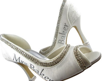 Peep toe silver bling ivory heels/Wedding Bridal High Shoes Mrs New Last name Personalized Peep Satin Rhinestone Bling Pumps Bride Stiletto