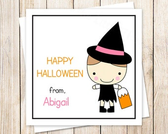 PRINTABLE halloween favor tags . stickers . cute witch . personalized . choose hair color . You Print