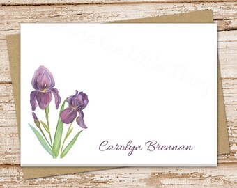PRINTABLE iris personalized note cards . purple iris notecards folded personalized stationery stationary watercolor floral flowers cards