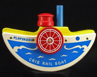 Vintage Retro Mid Century Retro Toy 1950s Playskool Wooden Primary Colors Wood Crib Rail Sail Boat With Original Box ATCTTEAM TNTEAM