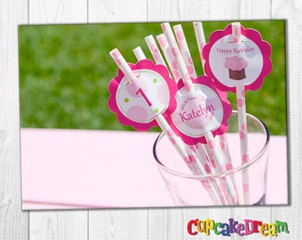 Cupcake Birthday, Polka Dot Paper Straws, Straw Tags, Set of 12