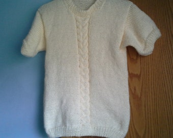 Hand Knitted Womens  Short Sleeved Crew Neck Boyfriend Classic Pullover