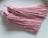 Moroccan tassels, rose quartz art silk, long, set of 2