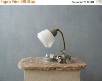 30% OFF SALE / Vintage 50s small bedside lamp. Green mid century lamp with white lampshade and brass neck