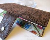 Handmade wallet brown faux tooled leather - birds in the garden - women clutch brown - Ready to ship - Long wallet purse