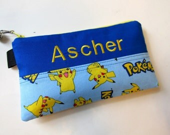 Handmade pencil bag with zipper - Pokemon in light blue - embroidery monogram name - storage bag - back to school - personalized bag