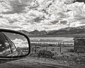 Custom Listing,  Colorado, fine art photo, wall art, home, black and white, mountains, clouds, mirror image, rustic building, midwest,