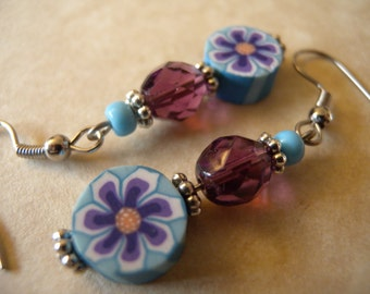 SALE - Blue and Purple Millefiori Flower Earrings
