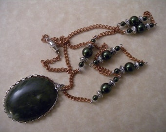 Oval Green Agate Pendant Necklace in Copper and Silver