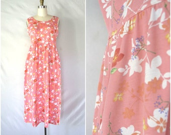 vintage cotton candy pink floral dress / billowy stretch knit summer dress / small medium large