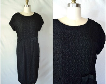 1950s textured formal wear dress / scalloped waist black dress / xl