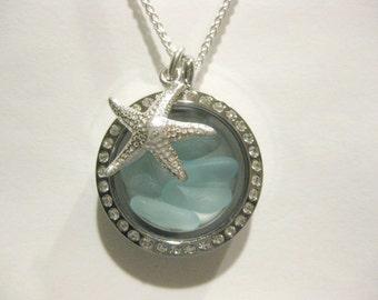 Sea Glass Jewelry Beach Glass Jewelry Handmade aqua starfish locket Custom Jewelry