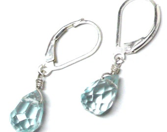 Aquamarine 10x7 glass briolette lever back earrings gold-filled, sterling silver, oxidized sterling, copper or gunmetal