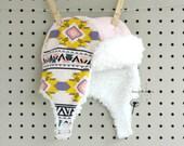 Baby Girl Earflap Hat - Aviator Hat Bomber Hat Cap - Pink Polka Dot Tribal