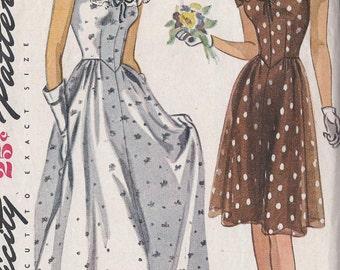 Vintage 1950's Daytime Or Evening Length Dress Pattern, Off Shoulder, Shaped Waist, Simplicity 1039