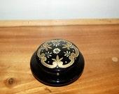 Antique Hand Painted Enamel Floral deep Royal Purple Glass Vanity Jar ~ Floral Dresser Jar ~ Enameled Glass Dresser Jar ~ Lidded Trinket Jar