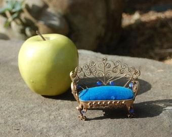 Small Miniature Dollhouse Tin Can / Folk Art, tramp art Settee, Loveseat, Couch w/ Royal Blue Velvet, Blue Rhinestone & Scroll Decorations