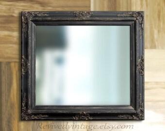 "RUSTIC BLACK MIRROR For Sale Oil Rubbed Bronze Rustic Black 31""x27"" Mirrors Black Framed Vanity Mirror Bathroom Mirror"