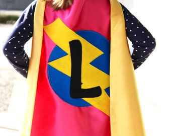 Our best selling Kids SUPERHERO Cape Personalized double sided cape - Any Initial - Girl or Boy Birthday Gift - Costume