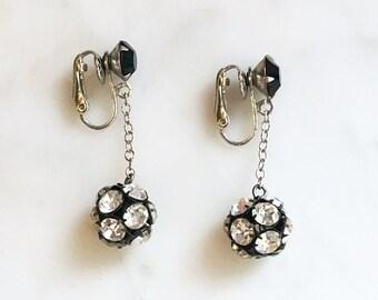 Vintage 60s Long Rhinestone Ball Earrings Vintage Jewelry