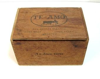 Te-Amo Vintage Cigar Box, Vintage Wood Cigar Box