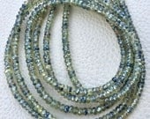 Brand New, AAA Rare NATURAL Mystic Shaded GREEN Sapphire Micro Faceted Rondelles,3.5mm Size,Full 15 Inch Long Strand.